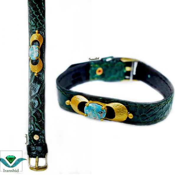 دستبند چرمی با نگین فیروزه زنانه