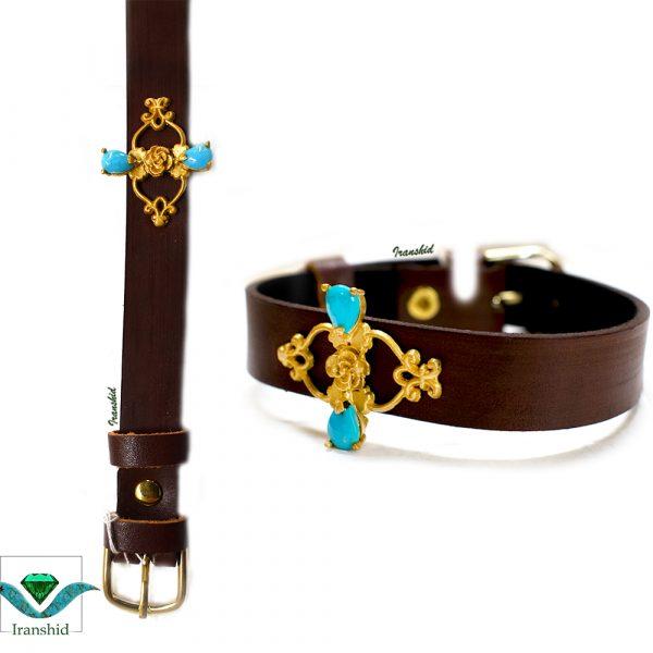 دستبند چرمی با نگین فیروزه