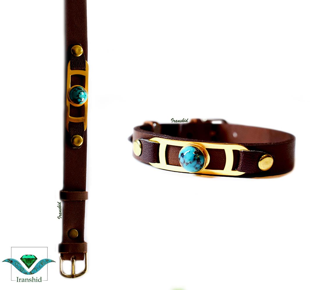 دستبند چرمی با نگین فیروزه مدل DL5