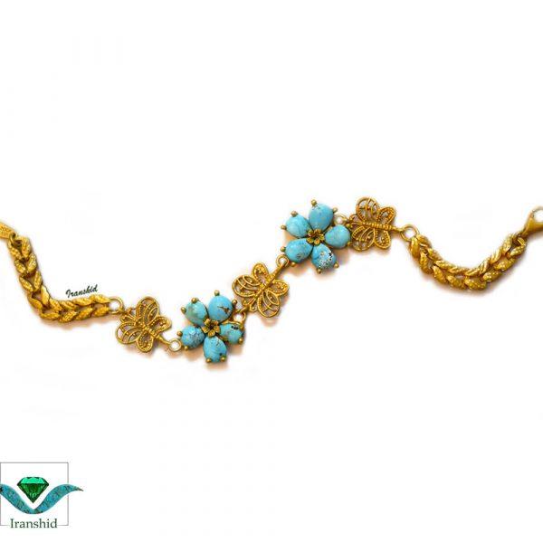 دستبند فیروزه ای زنانه