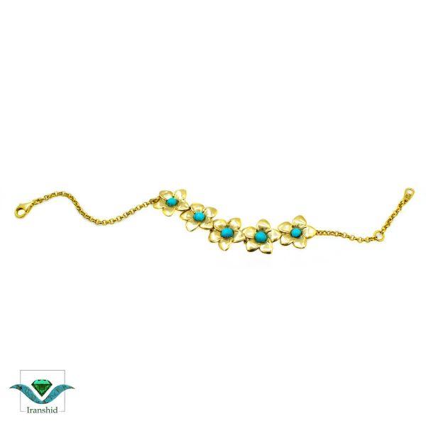 دستبند فیروزه ای با نگین فیروزه زنانه مدل DS19