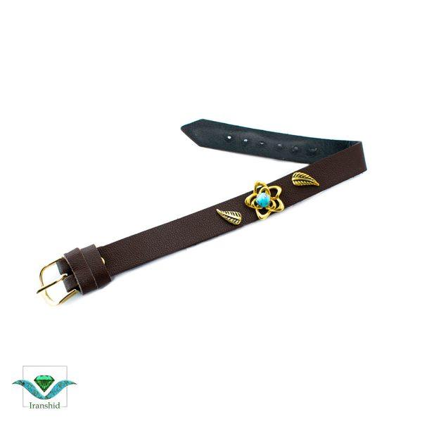 دستبند فیروزه ای با بند چرمی مدل dl14