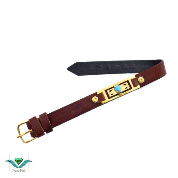 دستبند فیروزه ای با بند چرمی مدل dl15