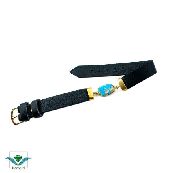 دستبند فیروزه ای با بند چرمی مدل dl16