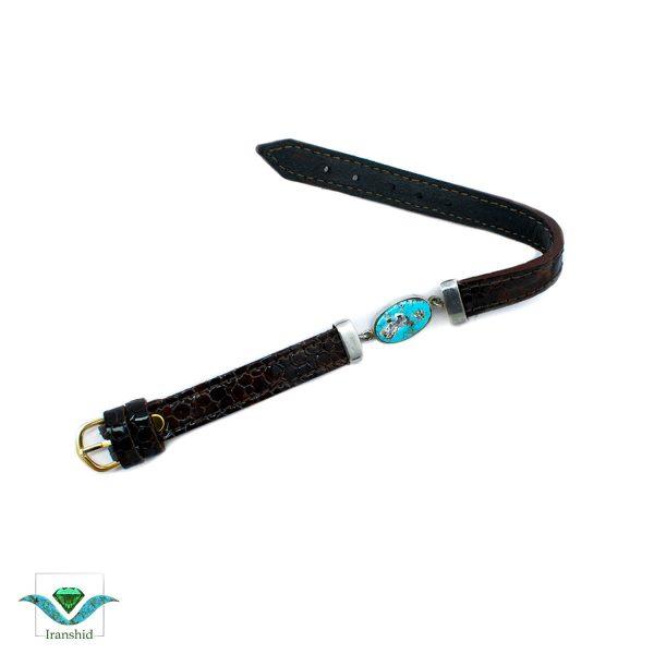 دستبند فیروزه ای با بند چرمی مدل dl2